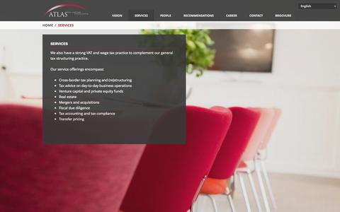 Screenshot of Services Page atlas-tax.nl - Services | Atlas Tax Lawyers Fiscalisten - captured Oct. 4, 2014