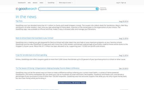 Screenshot of Press Page goodsearch.com - In the News - Dailygood - captured Sept. 19, 2014