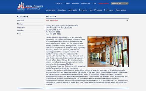 Screenshot of About Page facilitydynamics.com - About Us - Company | Facility Dynamics - captured Feb. 9, 2016