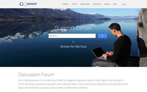 Screenshot of Support Page gqueues.com - Support - GQueues - captured Oct. 28, 2014