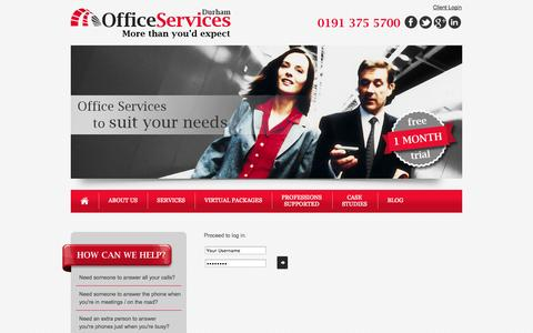 Screenshot of Login Page durhamofficeservices.co.uk - Virtual Office Services | Telephone Answering Services | Meeting Room Hire | Durham | Sunderland | Newcastle - captured Sept. 30, 2014