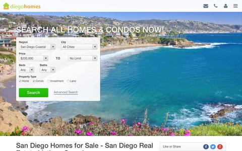 Screenshot of Home Page diegohomes.com - SAN DIEGO HOMES FOR SALE, SAN DIEGO CA REAL ESTATE, SAN DIEGO MLS - captured Sept. 12, 2015