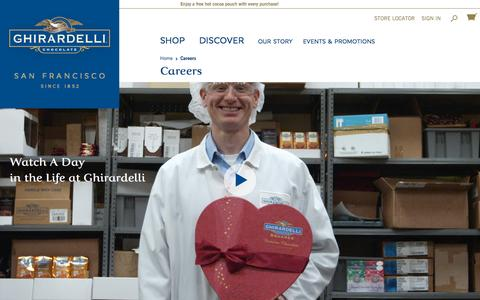 Screenshot of Jobs Page ghirardelli.com - Careers - captured Oct. 1, 2015