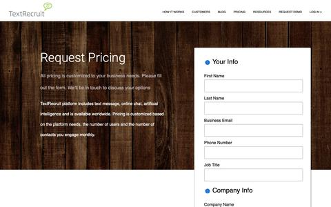 Screenshot of Pricing Page textrecruit.com - Request TextRecruit Pricing - captured Oct. 14, 2018