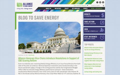 Screenshot of Blog ase.org - Blog to Save Energy | Alliance to Save Energy - captured Sept. 23, 2014