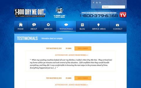 Screenshot of Testimonials Page drymeout.com - Testimonials   Drymeout - captured Sept. 25, 2015