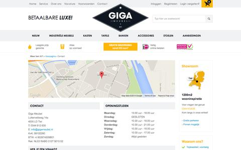 Screenshot of Contact Page gigameubel.nl - Contact - captured Sept. 23, 2014