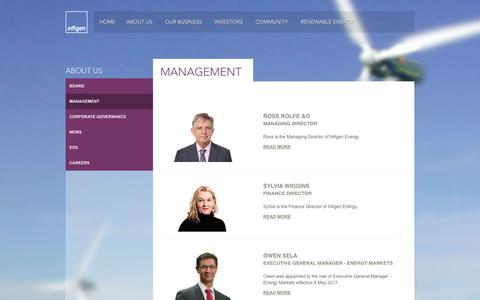 Screenshot of Team Page infigenenergy.com - Management - Infigen Energy - captured June 1, 2017