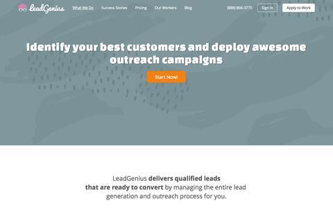 Screenshot of Services Page leadgeni.us - What We Do | LeadGenius - captured Dec. 17, 2014