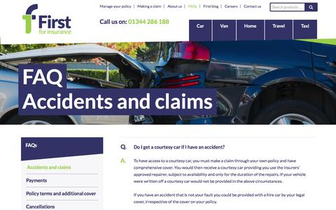 Screenshot of FAQ Page first.co.uk - Accidents and claims - First For Insurance - captured March 25, 2016