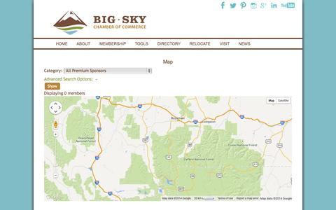 Screenshot of Maps & Directions Page bigskychamber.com - Map - Business Directory - Big Sky Chamber of Commerce - captured Nov. 3, 2014