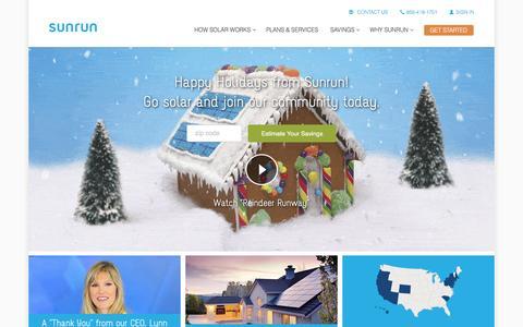 Screenshot of Home Page sunrun.com - Sunrun Home Solar Lease & Installation Company - captured Jan. 3, 2016