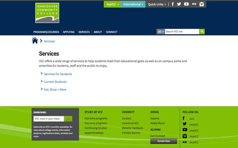 Screenshot of Services Page vcc.ca - Services - Vancouver Community College - captured Oct. 27, 2014