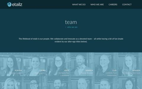 Screenshot of Team Page etailz.com - who we are | team - captured April 1, 2016