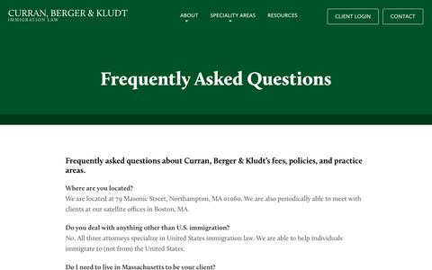Screenshot of FAQ Page curranberger.com - Frequently Asked Questions – Curran, Berger & Kludt - captured Sept. 30, 2018