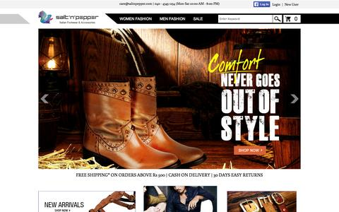Screenshot of Home Page saltnpepper.com - Online Shoe Store | Buy Shoes Online for Women and Men in India | saltnpepper.com - captured Sept. 24, 2014