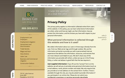 Screenshot of Privacy Page browngitt.com - Privacy Policy | Brown Gitt Law Group, ALC | - captured Nov. 13, 2018