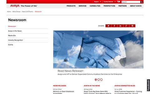 Screenshot of Press Page avaya.com - Newsroom - captured Oct. 10, 2014