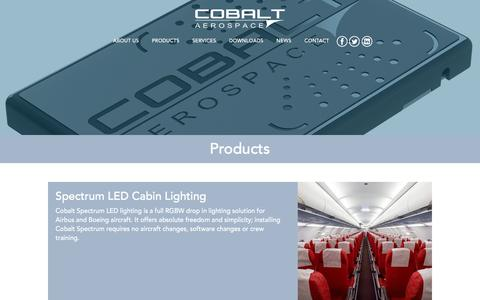 Screenshot of Products Page cobaltaerospace.com - Products - captured Nov. 8, 2016