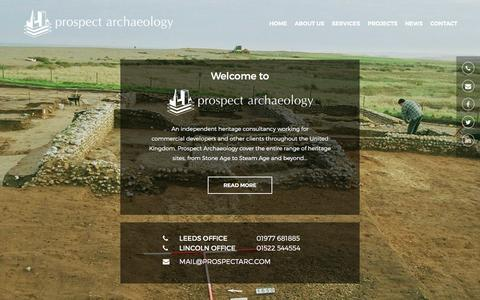Screenshot of Home Page prospectarc.com - Archaeology Services Leeds | Prospect Archaeology Ltd - captured Feb. 1, 2016