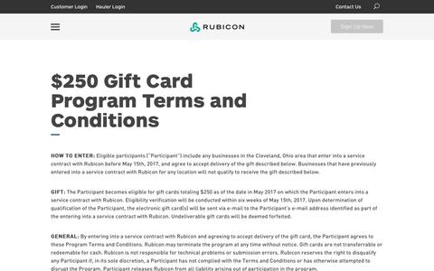 Commercial Garbage & Waste Management Company   Rubicon Global   $250 Gift Card Program Terms and Conditions