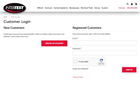 Screenshot of Login Page intertest.com - Customer Login  | InterTest - captured Oct. 14, 2019