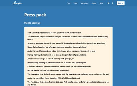 Screenshot of Press Page swipe.to - Press pack - Swipe - captured Sept. 17, 2014