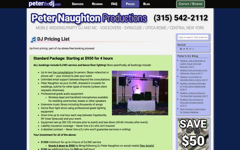 Screenshot of Pricing Page peterthedj.com - DJ Pricing List | Syracuse Wedding DJ | Peter Naughton Productions - captured July 28, 2017
