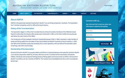 Screenshot of About Page asbtia.com.au - About ASBTIA - Australian Southern Bluefin Tuna Industry Association LTD (ASBTIA) - captured Oct. 9, 2017