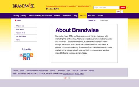 Screenshot of About Page getbrandwise.com - A Business Growth Consulting Company - captured Oct. 5, 2014