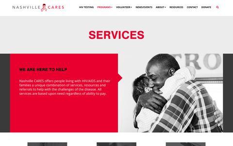 Screenshot of Services Page nashvillecares.org - Nashville Cares - captured Feb. 27, 2016