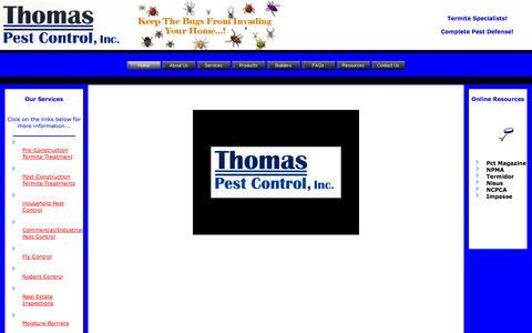 Screenshot of Home Page thomaspestcontrol.com - Welcome to Thomas Pest Control, Inc., Complete Pest Defense! - captured Sept. 30, 2014