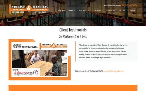 Screenshot of Testimonials Page storage-handling.com - Testimonials | Storage & Handling - captured Sept. 29, 2018