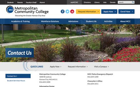 Screenshot of Contact Page mcckc.edu - Contact Us :: Metropolitan Community College - captured Feb. 13, 2016