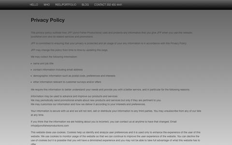 Screenshot of Privacy Page jonofisher.com - Privacy Policy — J O N O Visual Media +1 202 455 4441 - captured Oct. 6, 2014