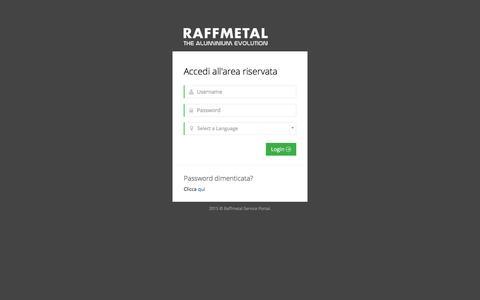 Screenshot of Login Page raffmetal.it - RAFFMETAL Service Portal - Log in - captured Feb. 13, 2016