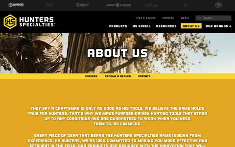 Screenshot of About Page hunterspec.com - About Us | Hunters Specialties - captured Nov. 9, 2018