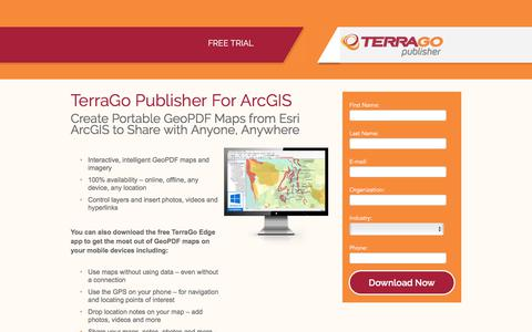 Screenshot of Trial Page terragotech.com - Publisher for ArcGIS Trial Download - captured June 10, 2018