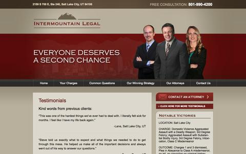 Screenshot of Testimonials Page utahdefenseattorney.net - Testimonials - Utah Criminal Defense Attorney | Intermountain Legal - captured Oct. 6, 2014
