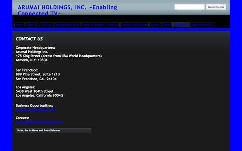 Screenshot of Contact Page iviewitholdings.com - Contact Us - ARUMAI HOLDINGS, INC.  ~Enabling Connected TV~ - captured Oct. 6, 2014