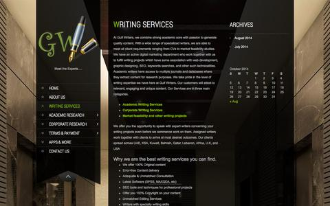 Screenshot of Services Page gulf-writers.com - Services   Gulf Writers - captured Oct. 3, 2014