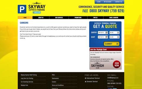 Screenshot of Jobs Page skyway.co.nz - Careers | Skyway Airport Parking - captured Oct. 7, 2014