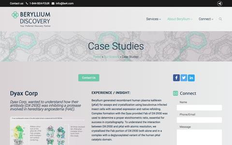 Screenshot of Case Studies Page be4.com - Case Studies - Beryllium Preferred Drug Discovery Partner - captured Nov. 15, 2016