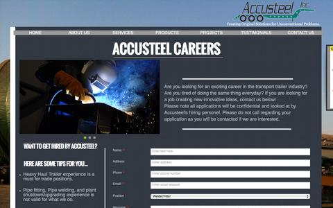 Screenshot of Jobs Page accusteel.ca - Careers - captured Feb. 5, 2016