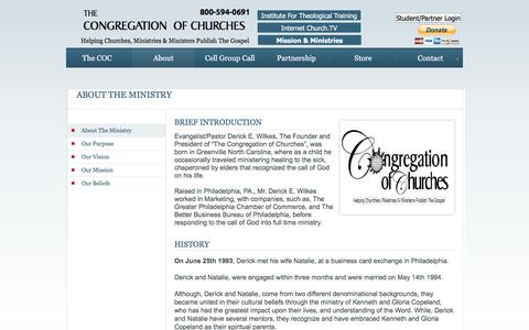 Screenshot of About Page congregationofchurches.org - About - captured Jan. 30, 2017