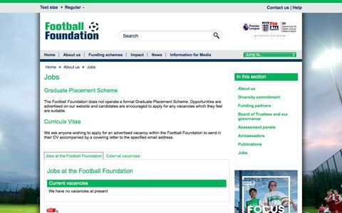 Screenshot of Jobs Page footballfoundation.org.uk - Jobs / Football Foundation - captured Aug. 19, 2018