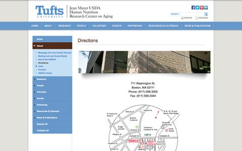 Screenshot of Maps & Directions Page tufts.edu - Directions - Human Nutrition Research Center on Aging - captured Sept. 18, 2014
