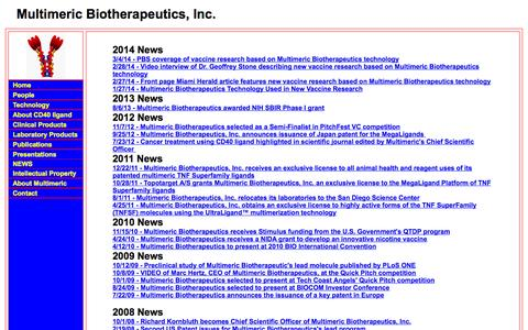 Screenshot of Press Page multimericbio.com - Multimeric Biotherapeutics  ... Unlocking the potential of the TNF SuperFamily Ligands - captured Oct. 7, 2014