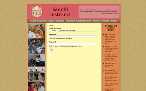 Screenshot of Login Page sandhi.org - User account | Sandhi Institute - captured Oct. 4, 2014
