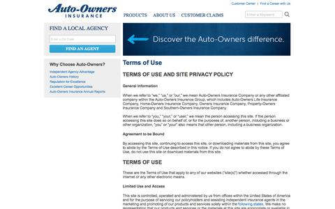 Terms of Use   Auto-Owners Insurance